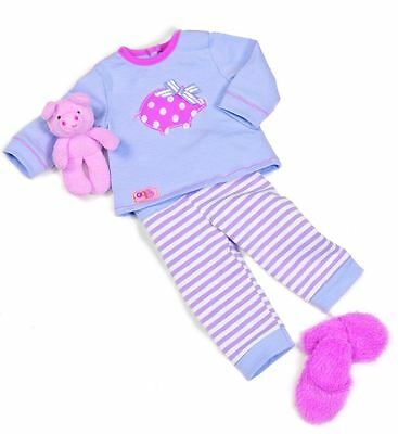 Our Generation Morning Noon Nighty Outfit - Doll Clothes Pyjamas PJs Slippers