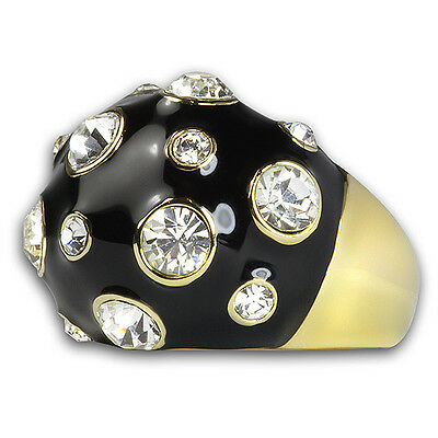 18K Gold Plated Crystal Round White Epoxy Large Fashion Cocktail Ring