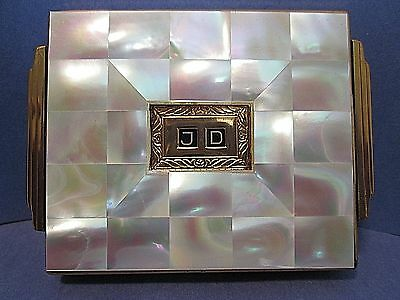 AGME Art Deco Mother of Pearl Powder Compact Vintage Monogrammed JD Switzerland