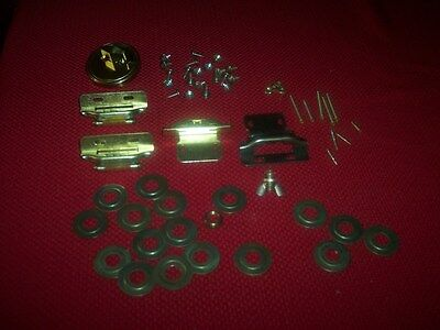 Garage clean out  Over 60 pieces mixed lot vintage hindges & screws Brass