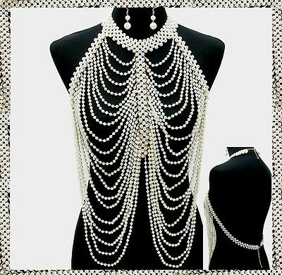 Gold Faux Pearl Strand Bead Bib Body Chain Necklace Jewelry Party Club Metal NEW