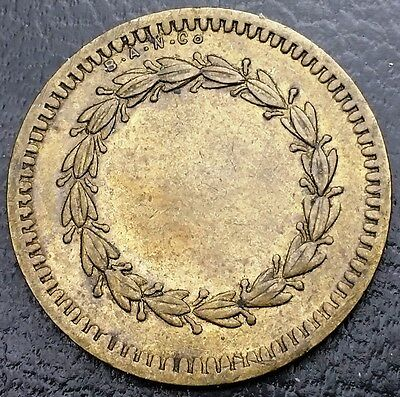 British American Novelty BAN Co Wreath Brass Blank Token ◢ FREE COMBINED S/H ◣