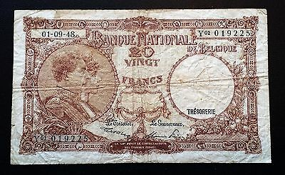 BELGIUM: 1948 20 Francs Vintage Note P-116 - FREE COMBINED S/H
