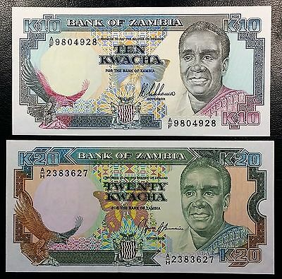 ZAMBIA: 10 20 Kwacha Notes 1989-1991 P-31 P-32 **UNC**  FREE COMBINED S/H