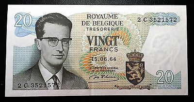 BELGIUM: 1964 20 Vignt Francs Banknote - XF+ -  P-138 - FREE COMBINED S/H