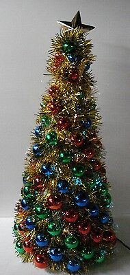 Fiber Optic Lights Gold Tinsel Christmas Tree Decorated With Ornaments Tabletop