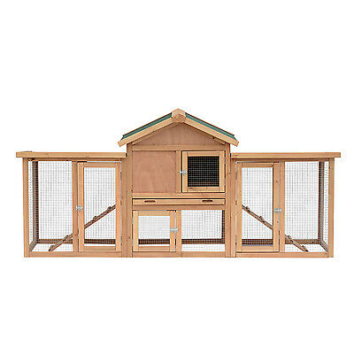 "Pawhut 80"" Deluxe Wood Chicken Coop Poultry Hen House Nesting Box Large Run"