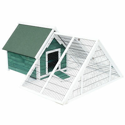 Large Triangle Chicken Coop Poultry Cage w/ Nesting Box Run Mesh Cover Backyard