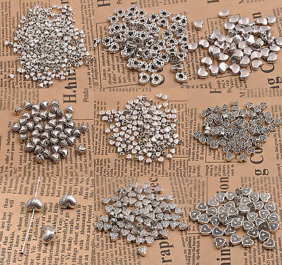 50Pcs Tibetan Silver Heart Loose Spacer Bead Charm Jewelry Finding