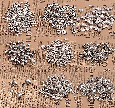 20/50/100Pcs Tibetan Silver Heart Shape Loose Spacer Bead Jewelry Making DIY