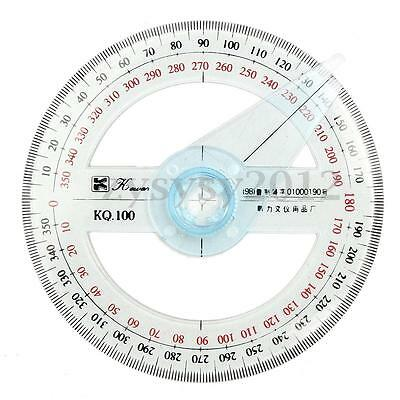 10cm Plastic 360 Degree Protractor Ruler Angle Finder Swing Arm School Office UK