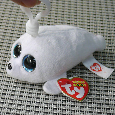 New TY Beanie Boos Plush Stuffed Toys Gift Glitter Eyes Key Chain Icy Seal