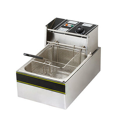 New 2500W 6 Liter Electric Countertop Deep Fryer Tank Basket Commercial