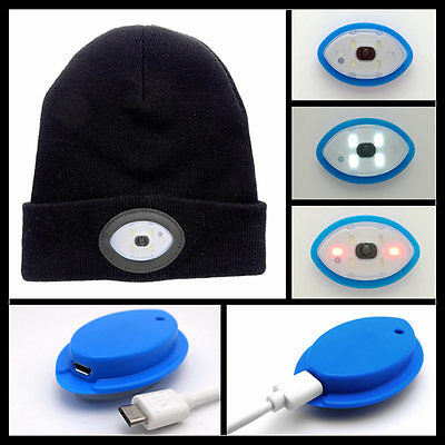 6 LED Light Cap Beanie Hat Knit Rechargeable Flashligh Fishing Camping Running