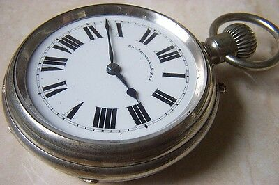A LARGE THOMAS RUSSELL CHROMIUM CASED RAILWAY KEYLESS POCKET WATCH c.1910