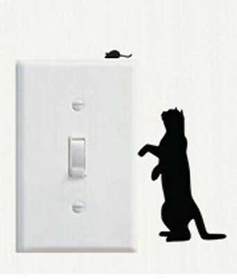 Black Cat And Mouse Shaped Light Switch Wall Decal Two Part Sticker C