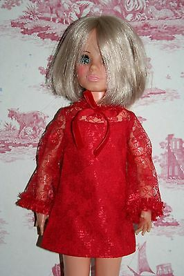 Fab Red Lace Dress For Ideal Crissy Sized Dolls