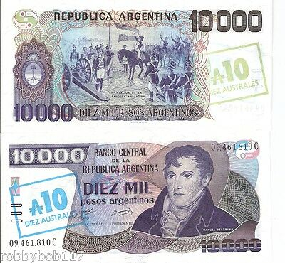 ARGENTINA 10000 Pesos OP 10 Australes Banknote World Money p-322c XF Currency