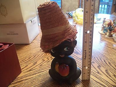 Black Americana Bobble Head Ceramic Nodder With Fruit Coin Bank With Straw Hat