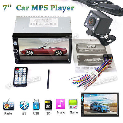 "2Din 7"" Car MP5 Player FM Stereo Radio Aux Input Bluetooth + HD Rear view camera"