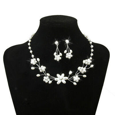 Wedding Bridal Bridesmaid Prom Crystal Pearls Necklace Earrings Jewelry Sets