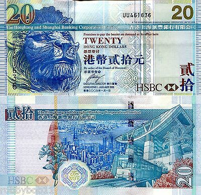 HONG KONG 20 Dollars Banknote World Paper Money Currency Pick p-207f HSBC Note