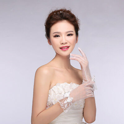 Lady Finger Lace Bridal Wedding Prom Short Gloves Bowknot Crystal White