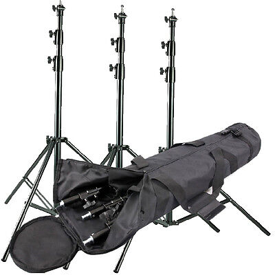 3 × Heavy Duty Studio Light Stand 300CM AIR Cushioned top quality 3 METER BAG