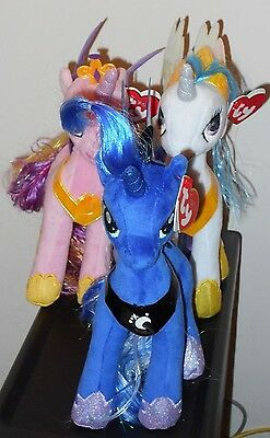 Ty Beanie Baby Set ~ My Little Pony PRINCESS CADENCE, CELESTIA & LUNA ~NEW PLUSH