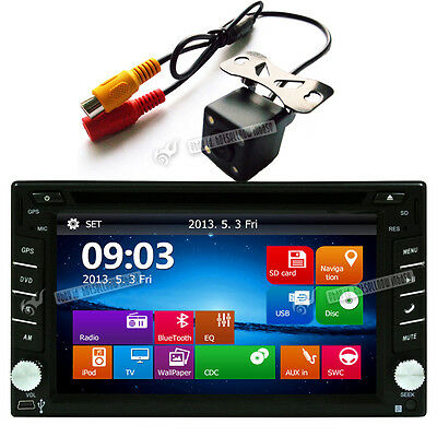 "Double 2Din 6.2"" Head Unit Car Stereo DVD CD GPS Player Bluetooth Radio + Camera"