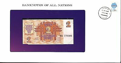 """Latvia ~ 1992 ~ 2 Rubil Note ~ Cu ~ """"banknotes Of All Nations"""""""