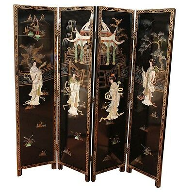 Black Oriental Chinese Furniture Room Divider With Mother Of Pearl