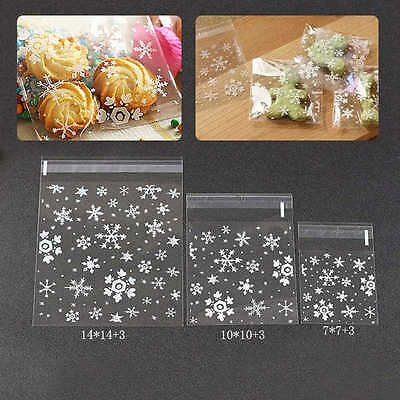 100PCS Christmas Xmas Snowflake Cellophane Sweet Chocolate Goody Bags Festive