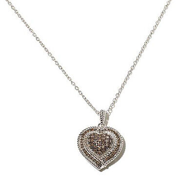 """HSN 0.35ctw Champagne Diamond Sterling Silver Heart Pendant 18"""" Chain Necklace"""