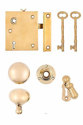 Vertical Brass Rim Lock set