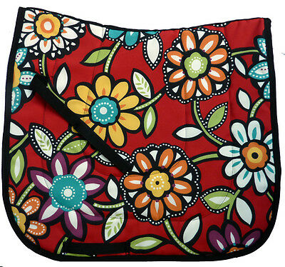 """One Of A Kind Colorful Red  """"big Flowers""""  Dressage Saddle Pad"""
