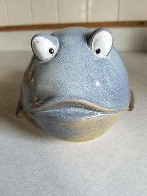 Blue Pottery Puffer Blow Fish Figurine