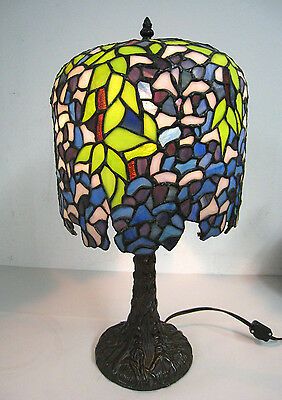 """20"""" Vtg Tiffany Style Table Lamp Multi-Color Stained Glass Tree Trunk Base #2"""