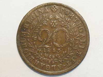 1843 Azores 20 Reis - Maria Ii - Copper Foreign World Coin