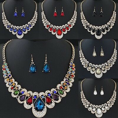 New Womens Gold Plated Chain Necklace Hook Earrings Crystal Fashion Jewelry Set