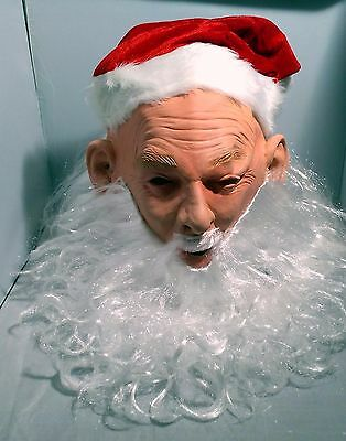 FATHER CHRISTMAS Santa Claus MASK Delux Latex Fancy Dress Party Long CURLY New