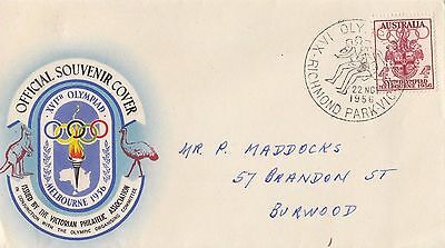 Stamp 1956 Olympic Games 4d on souvenir cover Richmond Park relay postmark