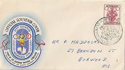 Stamp 1956 Olympic Games 4d on souvenir cover Olympic Village postmark