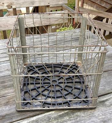 Vintage 1983 GALLIKER MILK CRATE Steel Wire Metal Dairy Farm Case Bottled Milk
