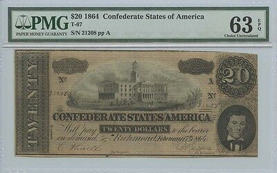 1864 $20 Confederate States of America Note T-67 PMG MS63EPQ Choice Uncirculated