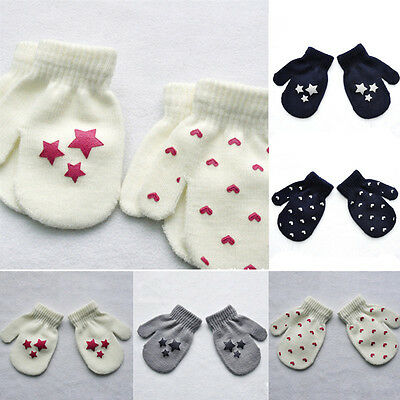 Fashion Warm Star Cute Mittens Kids Boys Girls Soft Knitting Fingerless Gloves