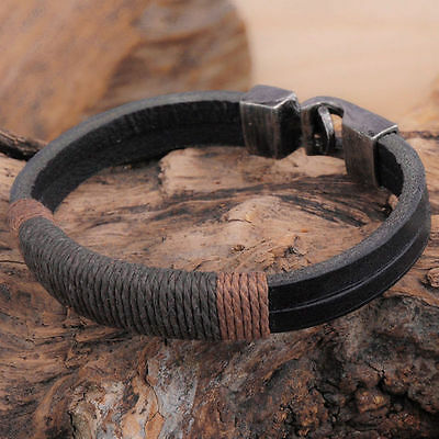 Surfer Mens Vintage Hemp Wrap Wristband Leather Cuff Handmade Bangle Bracelet