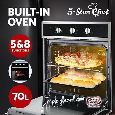 60cm 70L Electric Wall Oven Built In Grill Stainless Steel Fan Forced Glass Door