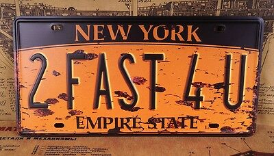 New York 2 Fast 4U Bar Decor Vintage License Plate Tin Metal Signs Wall Poster