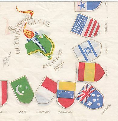 Australia 1956 Olympic Games Melbourne souvenir table paper napkin various flags
